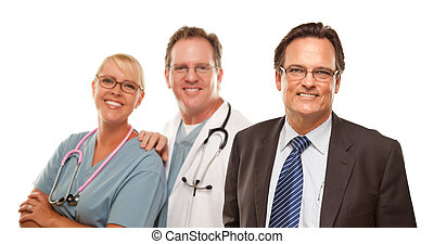 Smiling Businessman with Male and Doctor and Nurse
