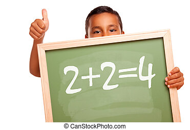 Proud Hispanic Boy Holding Chalkboard with Math Equation and...