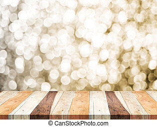 Empty perspective tropical wooden table with sparkling bokeh...