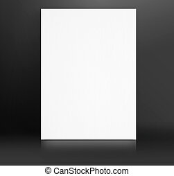Black White paper poster lean at black studio room,Template...