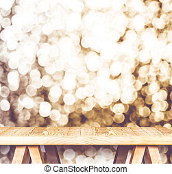 Vintage filter : Empty perspective wooden table with...
