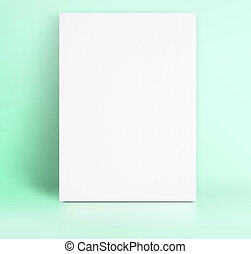 Black White paper poster lean at pastel green color studio...