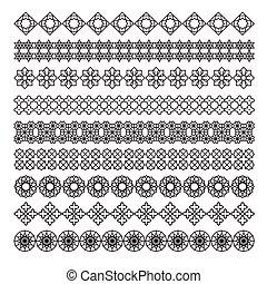 arabic frame ornament, pattern brush, vector set