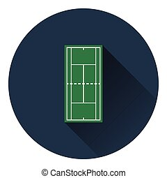 Tennis field mark icon. Flat color design. Vector...
