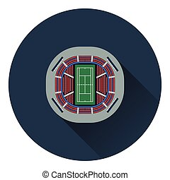 Tennis stadium aerial view icon. Flat color design. Vector...