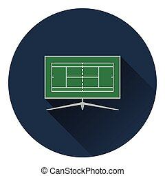 Tennis TV translation icon. Flat color design. Vector...