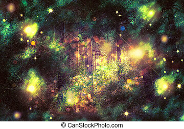 Fantasy Starry Forest - Colorful fantasy forest with stars,...