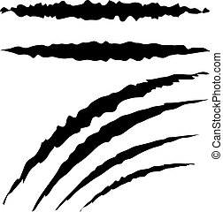 Grunge Cat Scratches - Cat claw scratches marks set on white...