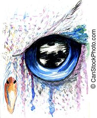 Owl Eye Art - Fantasy owl eye painting with acrylic and...