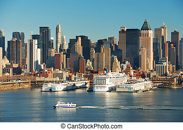 NEW YORK CITY SKYLINE WITH BOATS - New York City Skyline...