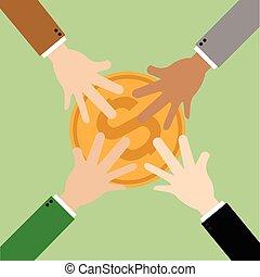 Money Market share. Hand picking pie money