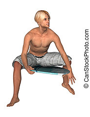 3D Rendering Male Surfer on White - 3D rendering of a male...