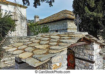 village of Theologos,Thassos - Stone roofs and old houses in...