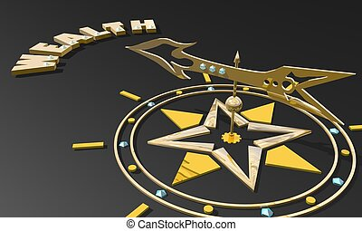 Golden arrow of a compass pointing to the word wealth