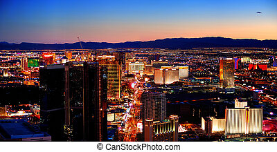Las Vegas City Skyline panorama with sunset, mountain,...