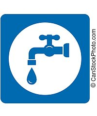 blue tap and drop icon - sign with blue tap and water drop...