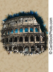 Colosseum, Rome - Colosseum in Rome Modern painting,...