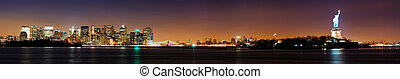 NEW YORK CITY AND STATUE OF LIBERTY - New York City night...