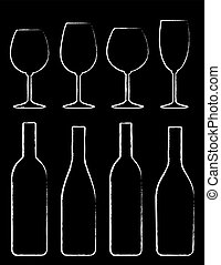 chalk wine bottle and glass set hand drawing on black...