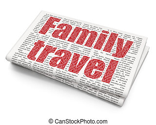 Tourism concept: Family Travel on Newspaper background -...