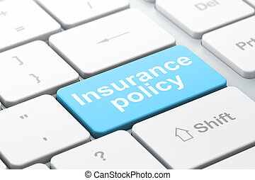 Insurance concept: Insurance Policy on computer keyboard...