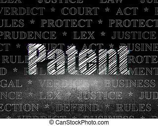 Law concept: Patent in grunge dark room