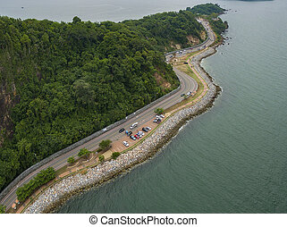 aerial view of chalerm burapa cholatis road chantaburi or...