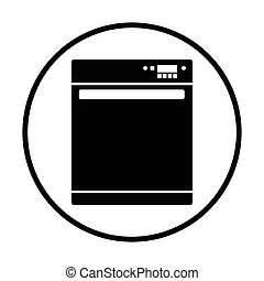 Kitchen dishwasher machine icon. Thin circle design. Vector...