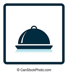 Restaurant cloche icon. Shadow reflection design. Vector...