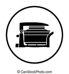 Electric convection oven icon. Thin circle design. Vector...