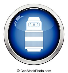 Icon of photo camera zoom lens. Glossy button design. Vector...