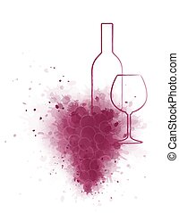 wine bottle and glass with grapes - hand drawing wine bottle...