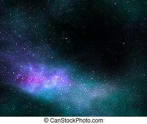 profundo, espacio, cosmos, nebulosa, galaxia