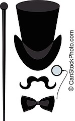 top hat isolated - Cartoon flat vector illustration. Objects...