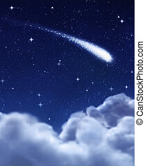 shooting star in night sky - shooting star in the dark night...