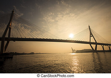 sun rising sky at bhumiphol bridge important transport and...