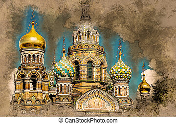 Church of the Savior on Blood in Saint-Petersburg, Russia....