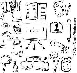 Education icon doodles vector art