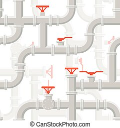 Vector Water Piping System Seamless pattern grey color on...