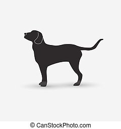 Vector silhouette of a dog on white background - Vector...