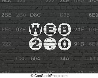 Web design concept: Web 20 on wall background - Web design...