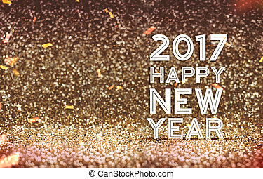 2017 Happy New year in gold color abstract glitter...