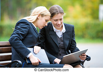 Business interaction - Image of two partners interacting...