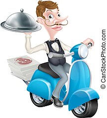 Cartoon Waiter on Scooter Moped Delivering Food