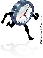 Running Clock Concept - An illustration of a clock character...