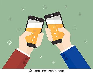 Cheers business people holding smartphone with beer on the...