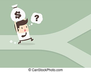 financial concept - businessman on crossroad personal...