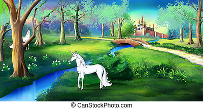 White Unicorn in a Magic Forest