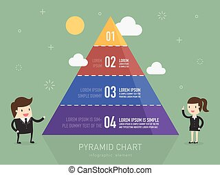 Pyramid chart Business person presenting Pyramid type...