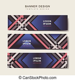 elegant banner template design set with plaid pattern